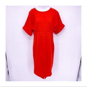 ASOS Red Front Slit Midi Cocktail Dress Size 6